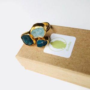 Raw Apatite & Aqua Chalcedony Gold Statement Ring